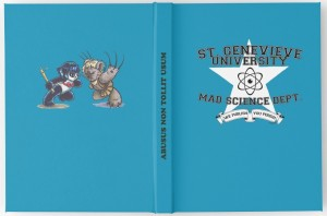 The front and back of the hardcover Mad Science Department journal